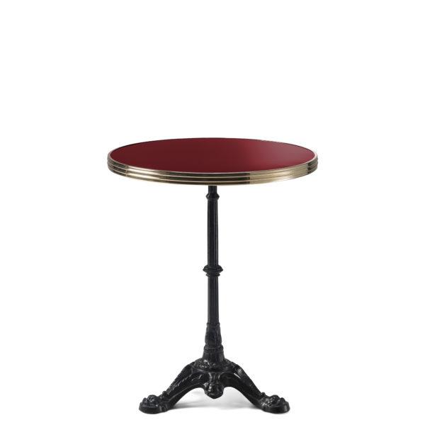 Table bistrot ronde émail rouge pourpre diamètre 60 cm