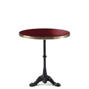 Table bistrot ronde émail rouge pourpre diamètre 70 cm