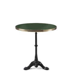 Table bistrot ronde émail vert oxyde chromique diamètre 70 cm