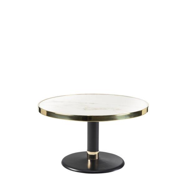 Table basse lounge ronde céramique blanc diamètre 70 cm