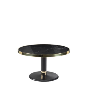 Table basse lounge ronde céramique noir diamètre 70 cm