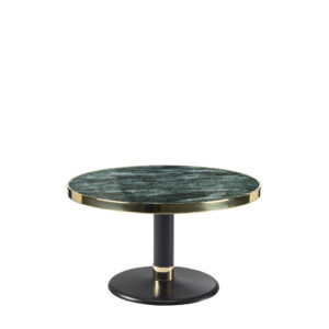 Table basse lounge ronde céramique vert intense diamètre 70 cm