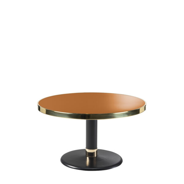 Table basse lounge ronde acier émaillé terre de sienne diamètre 70 cm