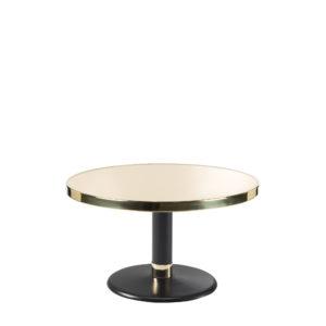 Table basse lounge ronde acier émaillé ivoire clair diamètre 70 cm