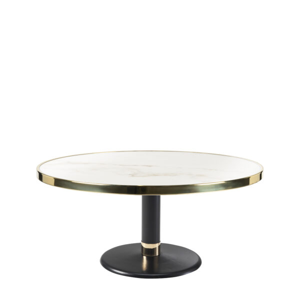 Table basse lounge ronde céramique blanc diamètre 90 cm