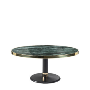 Table basse lounge ronde céramique vert intense diamètre 90 cm
