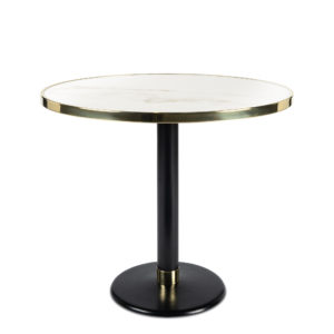 Table de bistrot en céramique blanc diamètre 90 cm