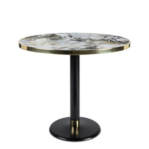 Table de bistrot en céramique onyx diamètre 90 cm