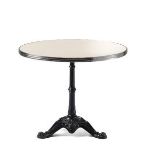 Table bistrot ronde émail blanc crème diamètre 90 cm