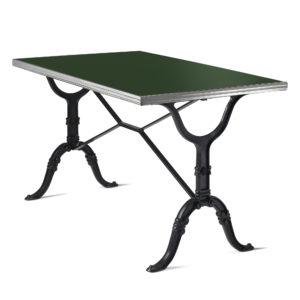 Table de bistrot émail vert bouteille 120x70 cm