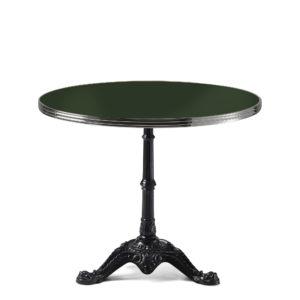 Table de bistrot ronde émail vert bouteille diamètre 90 cm