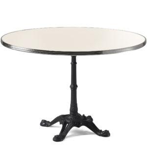 Table de bistrot ronde émail blanc crème diamètre 120 cm