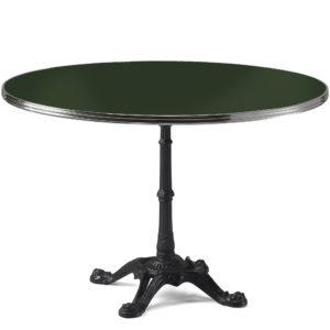 Table de bistrot ronde émail vert bouteille diamètre 120 cm