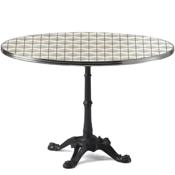 Table de bistrot ronde émail blanc crème avec sérigraphie vert bouteille diamètre 120 cm