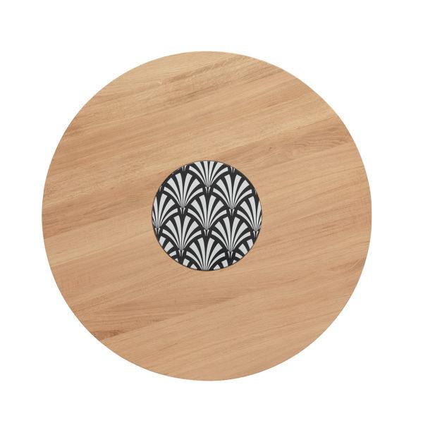 Table Ardamez chêne diamètre 90 cm vue du dessus